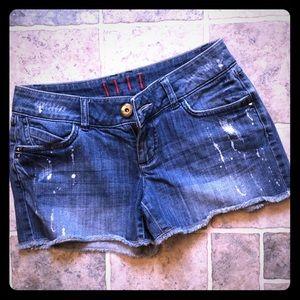 ELLE Distressed denim shorts